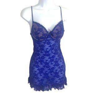 Victoria's Secret Blue Chemise Ruffle Lingerie 34C